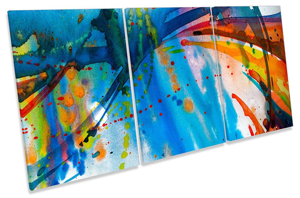 Lienzo Enmarcado abstracta pintura en a azul a en rayas impresión de arte de la pared de agudos d119ed