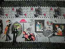 TANGO DANCE ROMANCE PARIS BUTTERFLY BORDER COTTON FABRIC FQ