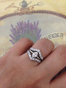 0-95Ct-Marquise-Diamond-14K-White-Gold-Fn-Solitaire-Enhancer-Wrap-Guard-Ring-Set