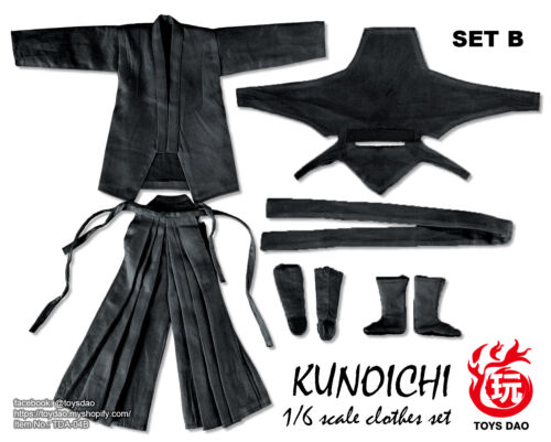 Toys Dao 1//6 Female Action Figure NINJA Kunoichi Vêtements Set Noir #TD-04B