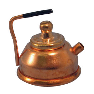 Dolls-House-Miniature-1-12th-Scale-Copper-Kettle-with-Removable-Lid-D007