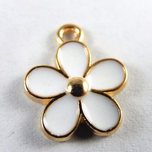 10pcs Lots White Enamel Flower Charms Pendants Zinc Alloy Jewelry Findings