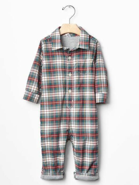 Green Plaid Shirt One-Piece Romper GAP Baby Boys Size 6-12 Months Red