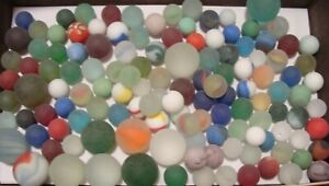 125 Vintage Glass Beach Sea Frosted Marbles Cats Solids Shooters Jewels Gems
