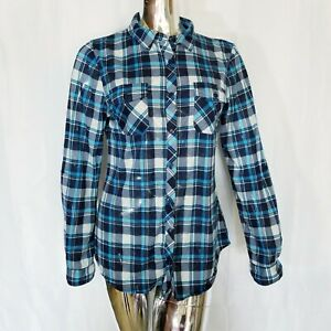 Bella-D-Womens-Blue-Black-Gray-Plaid-Button-Up-Long-Sleeve-Shirt-Size-Large
