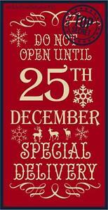 Dont Open Till Christmas.Primitive Stencil Do Not Open Until Christmas 12x24 007 Mil