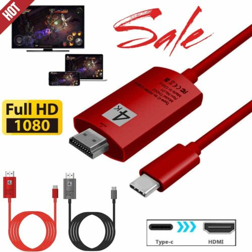 Durable USB3.1 Type C Male to HDMI Male Adapter for Samaung Galaxy S8 Black//Red