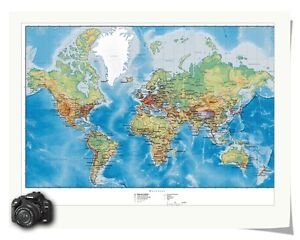 High Definition World Map Ocean Style Print Art Silk Fabric Poster - High resolution world map for printing