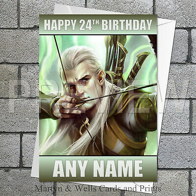 Legolas personalised birthday card 5x7 inches. Lord of the Rings