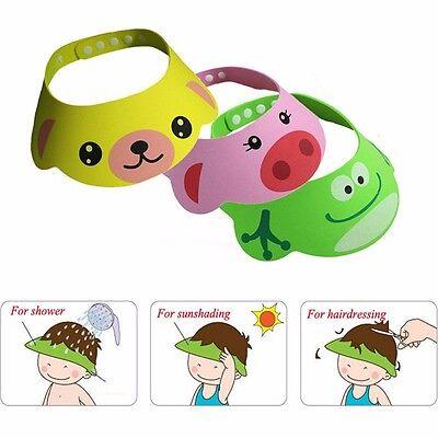 CARTOON ANIMAL BABY BATH WATERPROOF SHAMPOO VISOR KIDS HAIR WASH EYE SHIELD CAP