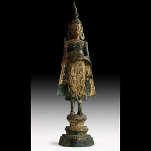 Antiguedad-Thai-Siam-Dorado-Bronce-Cantando-Bol-Rattanakosin-Ayutthaya-Buda-15