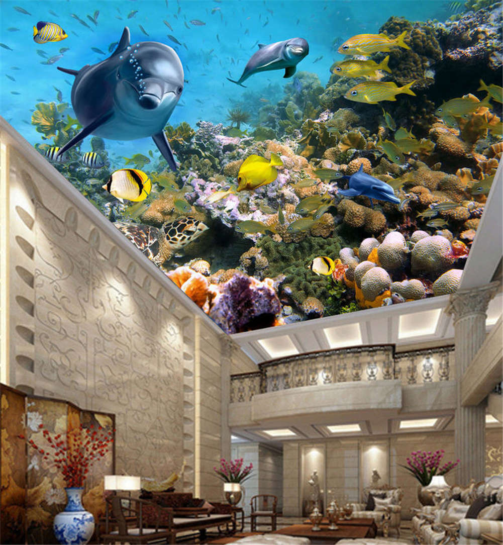 Cute Ugly Fishes 3D Ceiling Mural Full Wall Photo Wallpaper Print Home Decor