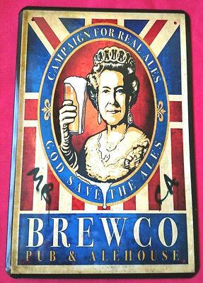 Blechschild 20x30 Queen Elizabeth Brewco Pub Alehouse Bier Reklame Bar Schild