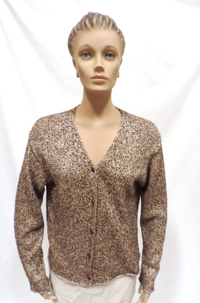 Eileen Fisher Sweater Italian Yarn Linen Blend Cardigan Brown Beige Top Size M