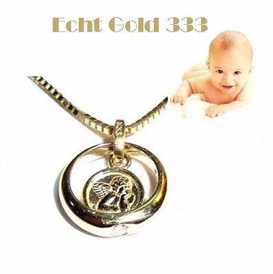 Schutzengel Kette Taufschmuck Echt Gold 333 Engel Anhänger Herz Panzerkette