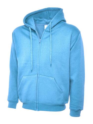 Uneek UC504 Mens Classic Fit Full Zip Up Hooded Sweatshirt Zipped Hoodie Hoody