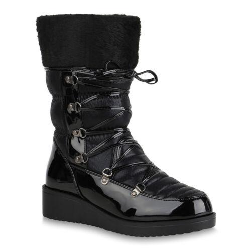 Damen Winterstiefel Warm Gefütterte Stiefel Wedges Schuhe Boots 820450 Top