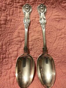Set-2-DOMINICK-amp-HAFF-Kings-Sterling-Silver-Serving-Spoons-8-1-2-inch