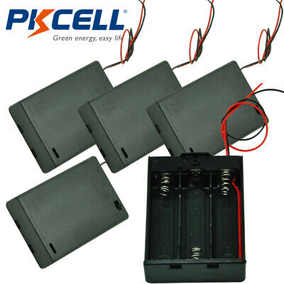 5pcs Aa Battery Holder 3xaa Cells Case Box With 6 Cable Leads