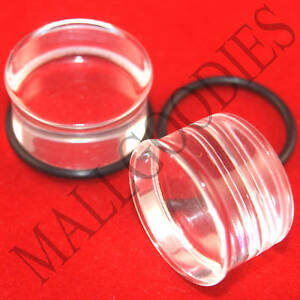 1336-Acrylic-Single-Flare-Clear-11-16-034-inch-Plugs-18mm-MallGoodies-1-Pair-2pcs