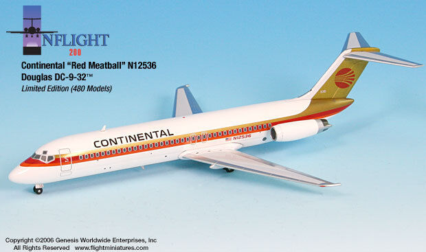 InFlight200 Continental Airlines Douglas DC-9 rosso Meatballs 1:200 Scale N12536
