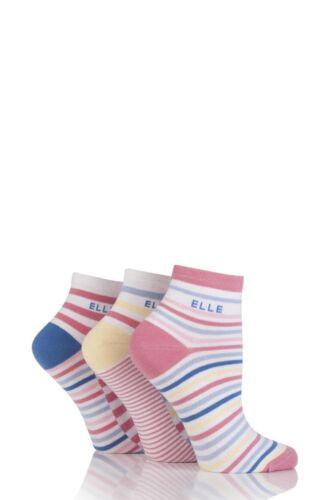 Ladies 3 Pair Elle Striped Cotton Anklets