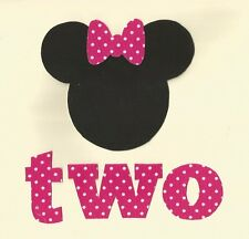 Minnie Mouse 2nd Birthday fabric Iron On Applique (Pink)