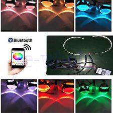 Bluetooth Remote Control RGB LED Demon Eye Halo Ring Headlight Projector Lens BE