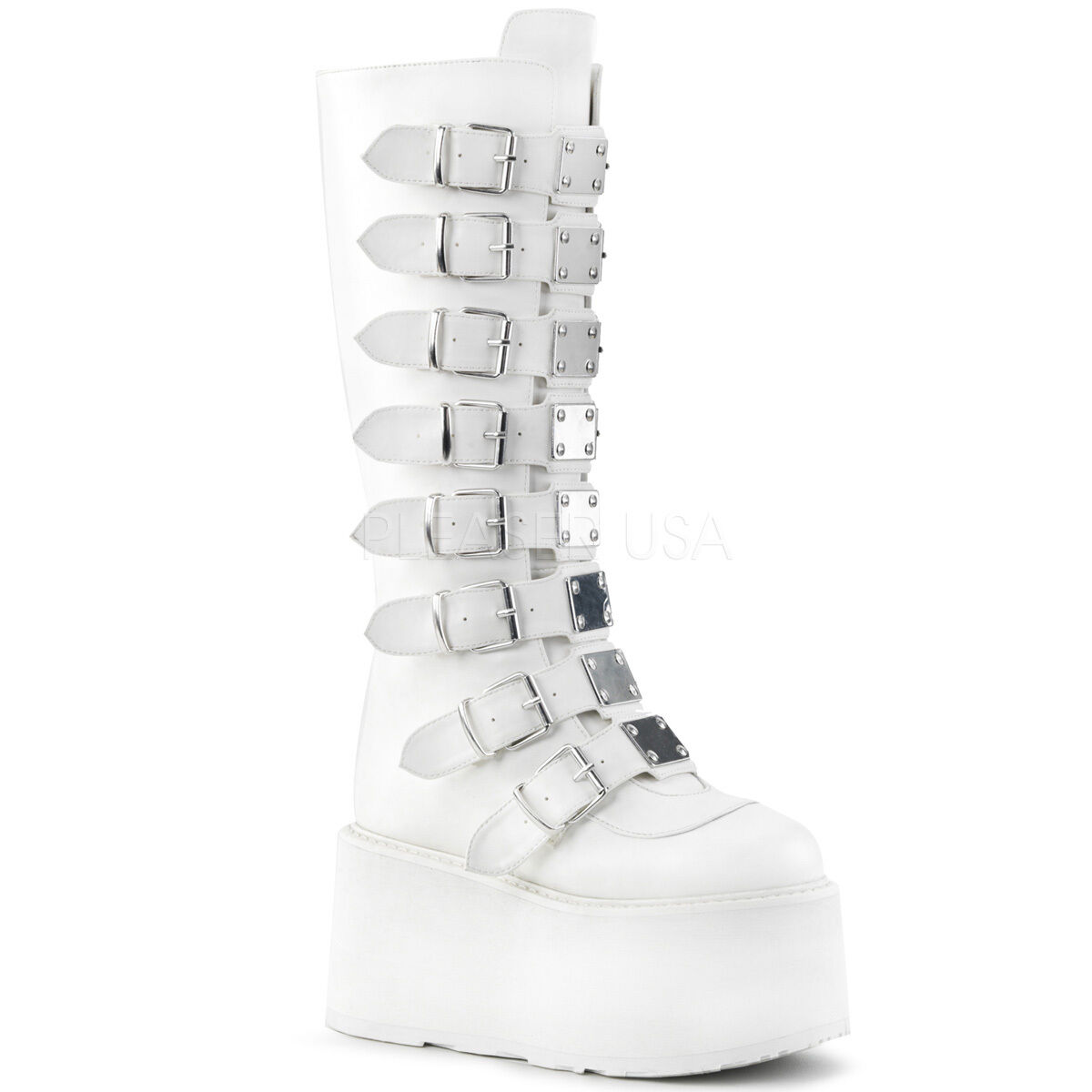 DEMONIA DAMNED-318 Punk Gothic Buckle Strap White Platform Women's Knee Boots
