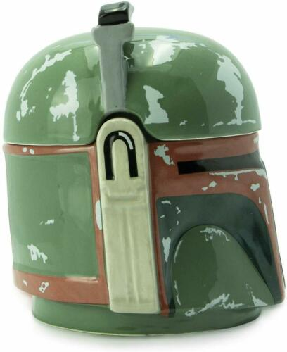 OFFICIAL STAR WARS BOBA FETT 3D SHAPED COFFEE MUG TEA CUP WITH LID NEW GIFT BOX