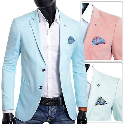 Mens Blazer Jacket Casual Formal Steel Blue UK Size Soft Cotton Regular Size