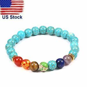 7 Chakra Natural Stone Beads Bracelet Healing Reiki Turquoise Bangle Jewelry Hot