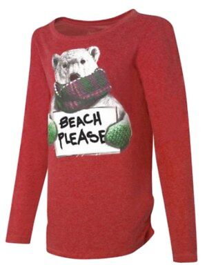 Hanes Girls Red Beach Please Holiday Shirt Polar Bear T-Shirt