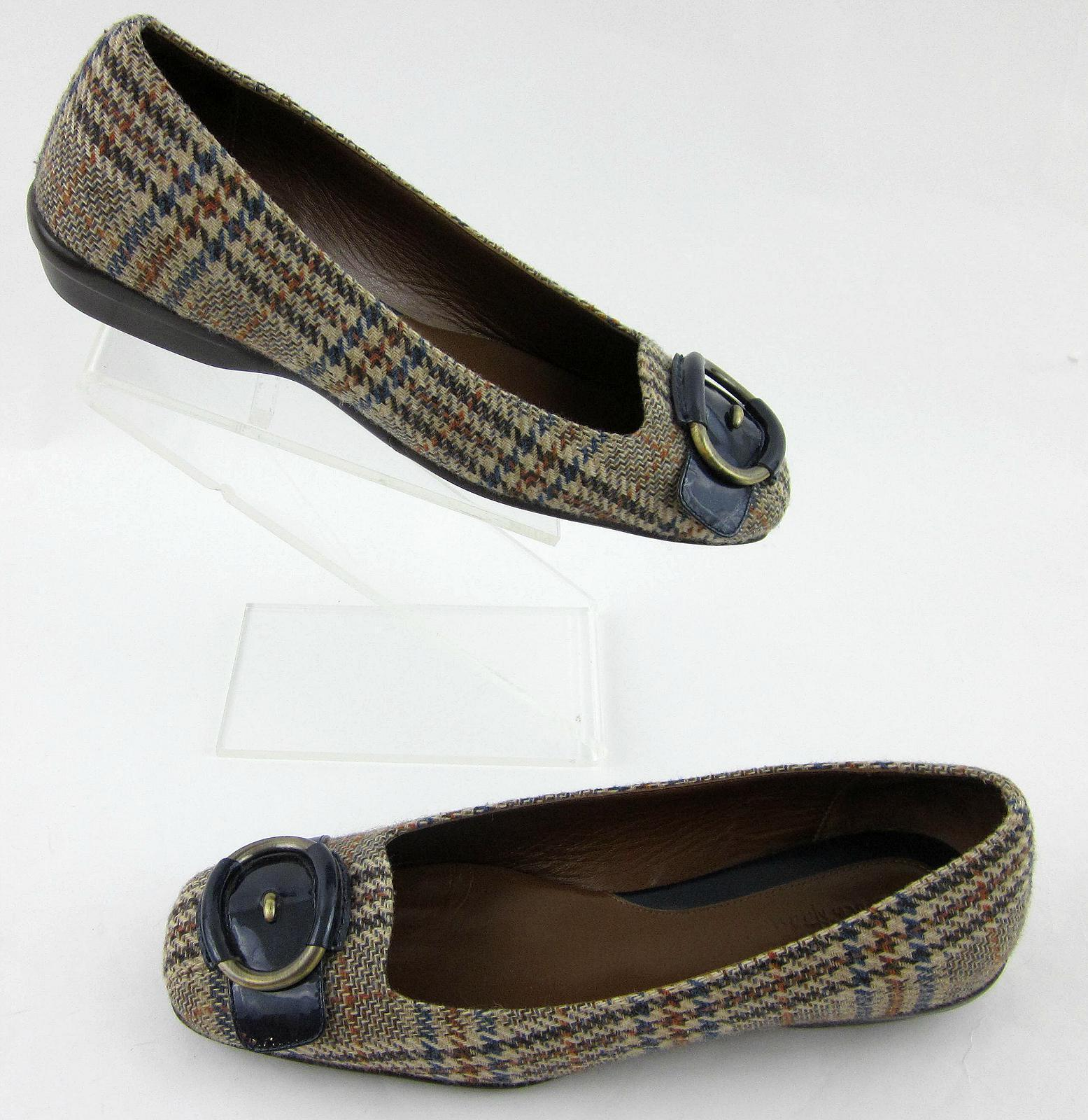 Cole Haan Air donna donna donna Flats Plaid Fabric blu Patent Strap Sz 7B 1fcd28