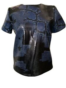 And-Other-Stories-Black-Blue-Sequin-Top-Snakeskin-Animal-Print-Zip-Back-Size-10