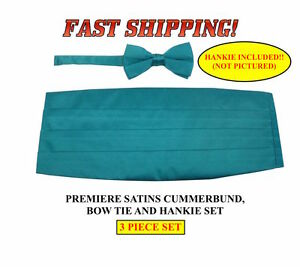 New TEAL Blue Cummerbund Bow Tie Hankie Premiere Satins Tuxedo Set 3 PIECE SET