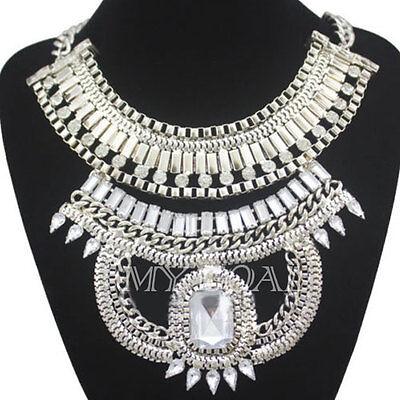 Egyptian Cleopatra Snake Gemstone Crystal Bib Statement Chunky Collar Necklace
