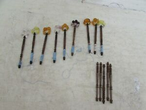 14-Vintage-Turned-Wood-Lace-Making-Bobbins-9-With-Spangle-Beads