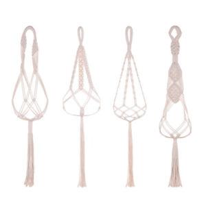 Vintage-Macrame-Plant-Hanger-Flower-Pot-Garden-Holder-Legs-Hanging-Rope-Basket