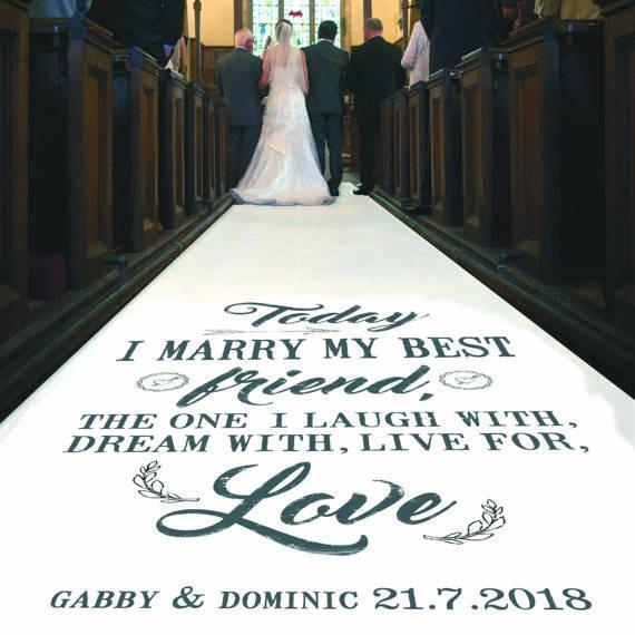 Personalised WEDDING AISLE RUNNER. Church Venue Carpet Decoration. 20ft - 30ft