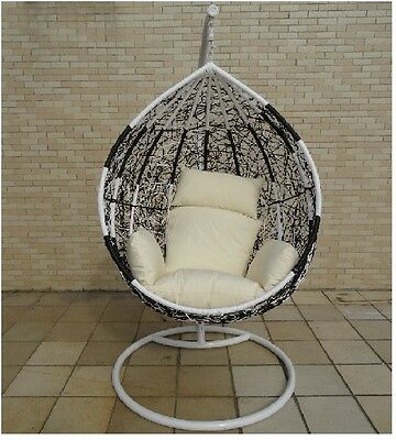 NEW HANGING SWING EGG CHAIR Rattan OUTDOOR BLACK & white ...