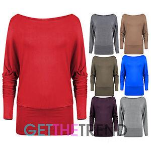 Womens-Off-Shoulder-Top-Ladies-Long-Sleeve-Baggy-Loose-Basic-Casual-Batwing-Top