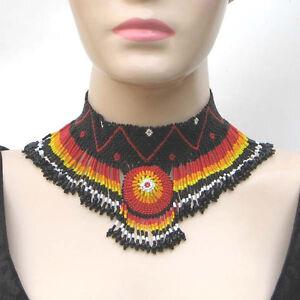 Ethnique Style Rouge Orange Noir Fait à la Main Graine Perles Col Collier