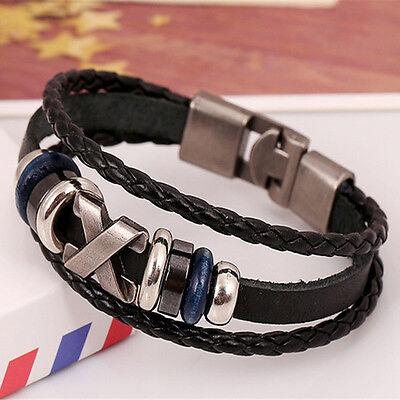 New Style Punk Unisex Women Men Wristband Metal Studded Leather Bracelet Cool