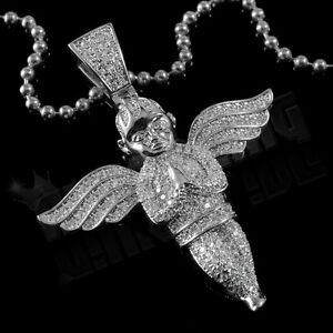 18k white gold plated iced out angel pendant piece chain micro image is loading 18k white gold plated iced out angel pendant aloadofball Gallery