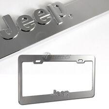 jeep logo 3d chrome die cast zinc license plate frame official licensed