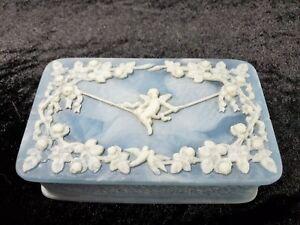 Vtg. Genuine Incolay Stone Blue & White Cherub/Angel Hinged Jewelry Trinket Box
