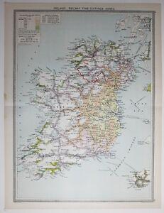 1920 Large Map Ireland Irish Free State Galway Cork Kerry Mayo