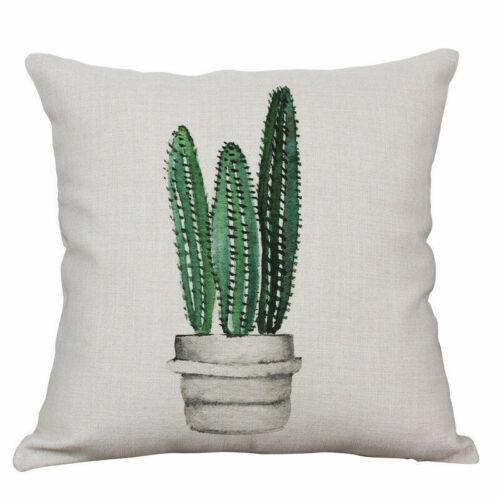 Cotton Linen Cactus Pillow Case Sofa Office Bed Cushion Cover Home Decoration