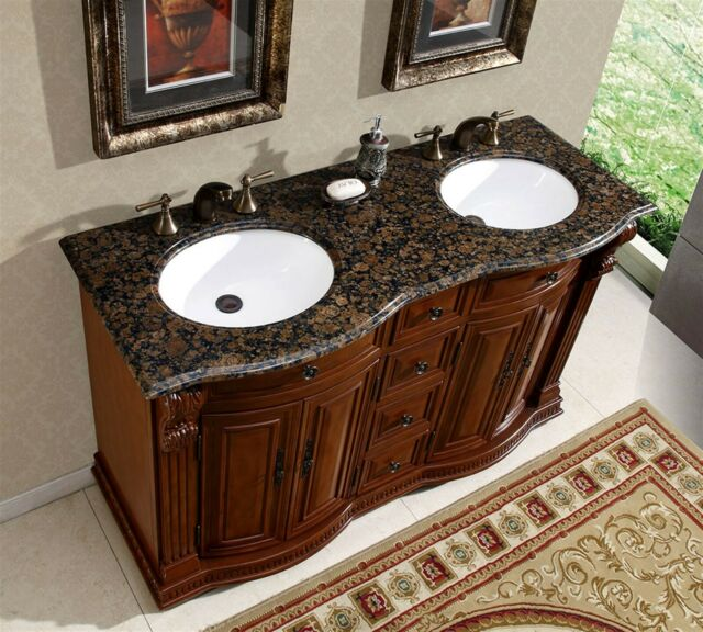 55 Granite Stone Top Bathroom Vanity Cabinet Furniture Double White Sink 223bb For Sale Online Ebay
